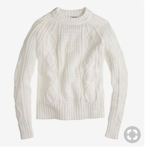 J. Crew Cotton Cable Sweater Ivory White S